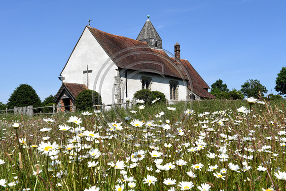 Church surrounded by wildflowers